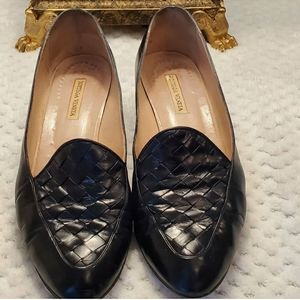 Bottega Veneta Black Leather Loafers 7.5